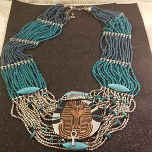 Egyptian king tut 19 strand beaded necklace